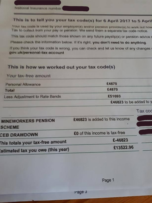 Mineworkers receive tax demands after admin error db derisking hmrc letter spiritdancerdesigns Images